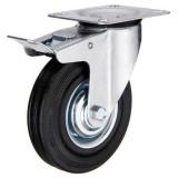 swivel heavy duty black rubber,caster wheel with brake